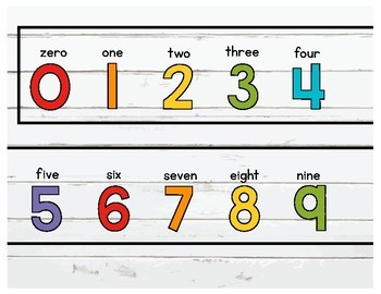 Number Line Decor Rainbow Shiplap with word