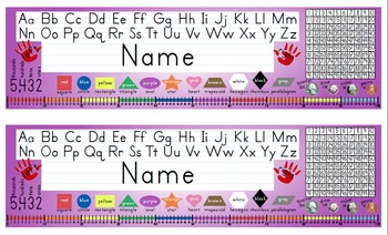 Desk Name Tags w/Number Line to 100 - 8.5x14 in MS Word (Multicolor & Editable)