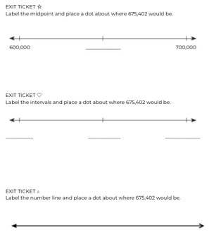 Number Line Exit Ticket (Differentiated)