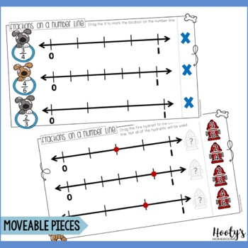 Number Line Fractions Paperless Practice for Google Apps