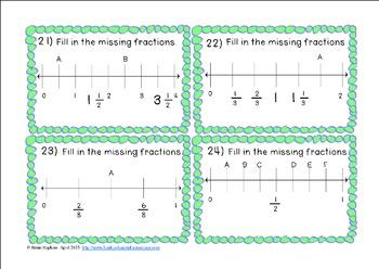 Number Line Fractions Task Cards