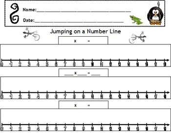 number line jumps with multiplication worksheet by lane barnhill. Black Bedroom Furniture Sets. Home Design Ideas