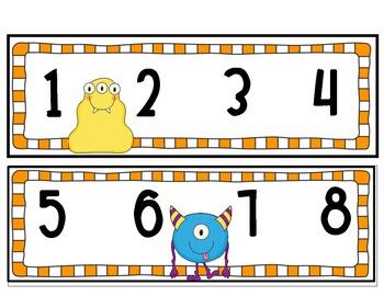 Number Line Monster Themed/Orange Checkered