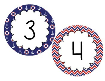 Nautical Number Line - 5 Inch Circles