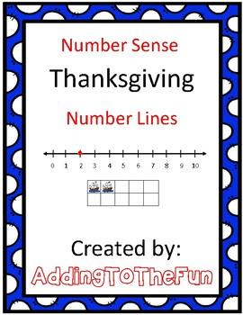 Number Line Number Sense Thanksgiving Worksheets