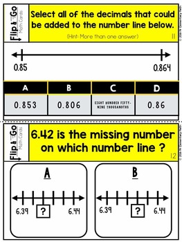 Number Line Number Sense with Decimals - Flip and Go Cards