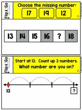 Number Line Number Sense within 20 - Flip and Go Cards