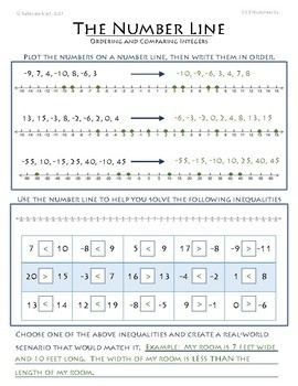 Number Line--ORDERING AND COMPARING INTEGERS