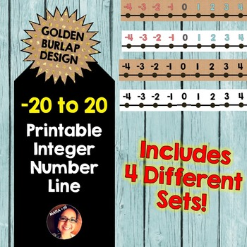 Burlap Number Line PRINTABLE (with Integers)