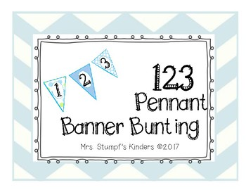 Number Line Pennant Banner Bunting Blue