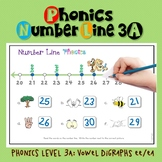 Number Line Math & Phonics: Vowel Digraphs #1-50 (ee/ea) LEVEL 3A