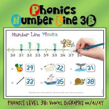 Number Line Math & Phonics: Vowel Digraphs #1-50 (oo/ai/ay) LEVEL 3B