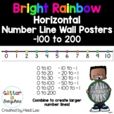 HORIZONTAL Number Line Wall Posters - Rainbow Bright (0-10 to 0-200)