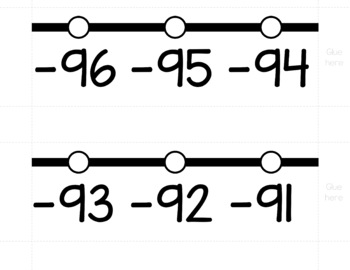 HORIZONTAL Number Line Posters - Tuxedo Black and White (0-10 to 0-200)