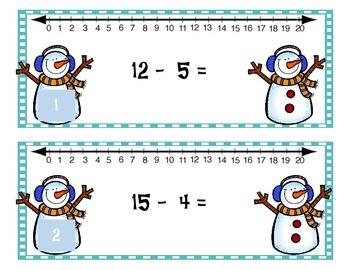 Number Line Practice 1-20 {WINTER THEME}
