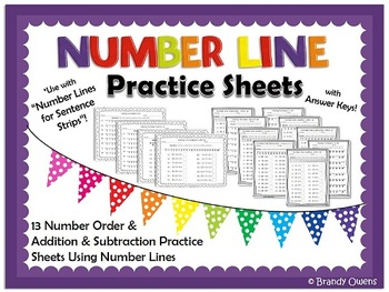 Number Line Practice Sheets and Large Number Lines Combo Pack