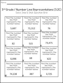 Number Line Representations: Solve, Snip, & Stick: TEKS 3.2C