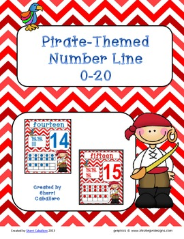 Number Line Set 0-20 Pirate-Themed