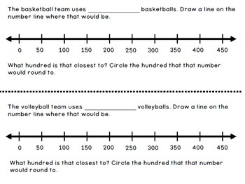 Sports Theme Number Line Book/Center - Addition, Subtraction, and Rounding