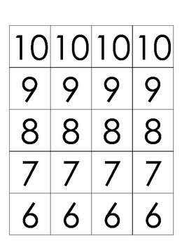 Number Line Subtraction 0 - 10  (K - 1)