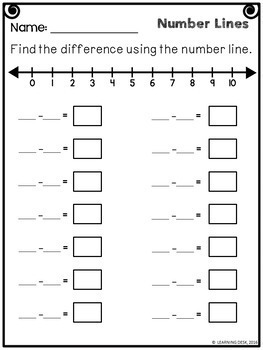 Number Lines Subtraction Worksheets