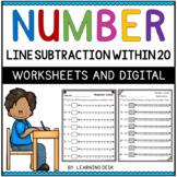 Number Lines Subtraction to 20 Worksheets Google Slides Kindergarten First Grade