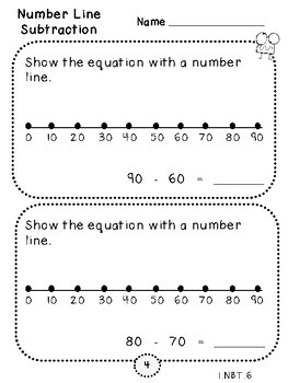 Number Line Subtraction-Student Pages (First Grade, 1.NBT.6)