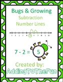 Number Line Subtraction Worksheets - Bugs and Spring Growing