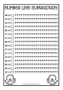 Number Line Subtraction to 100 (One Hundred) Worksheets and Printables