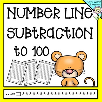 Number Line Subtraction to 100 (One Hundred) Worksheets an