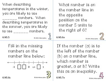 6th Grade Number Line Task Cards