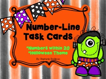 Number Line Task Cards (Halloween, Addition, Subtraction, Story Problems)
