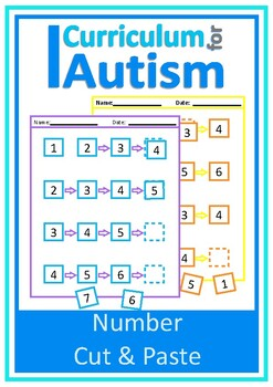 Number Line 1-20 Cut & Paste Autism Special Education, Wha
