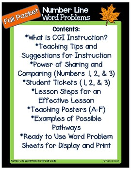 Number Line Word Problems-Leveled for Differentiation {Fall Edition}