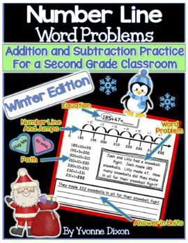 Number Line Word Problems-Leveled for Differentiation {Winter Edition}