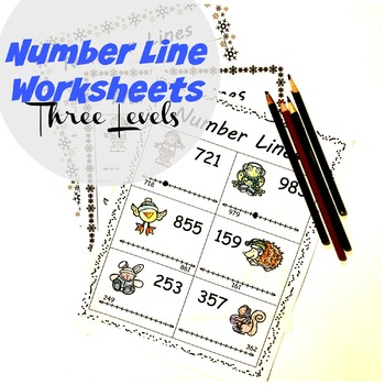 Number Line Worksheets Winter Themed (Three Levels)