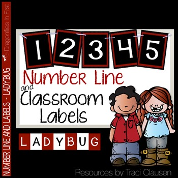 Classroom Decor Labels - Number Line and Class Labels LADYBUG