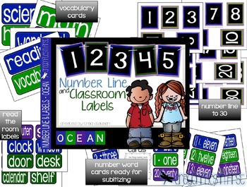 Classroom Decor Labels - Number Line and Class Labels OCEAN