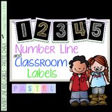 Classroom Decor Labels - Number Line and Class Labels PASTEL