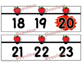 Number Line for Classroom Wall - Apple Themed (Tens Highlighted)