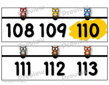 Number Line for Classroom Wall -  Owl Themed (Tens Highlighted)