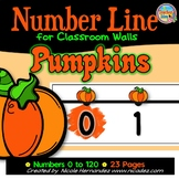Number Line for Classroom Wall - Pumpkin Themed (Tens Highlighted)