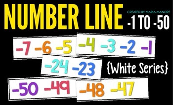 Number Line for Negative Numbers -1 to -50 {White Series}