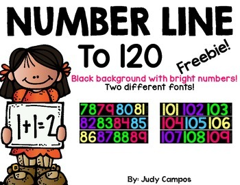 Number Line to 120 With Bright Colored Numbers