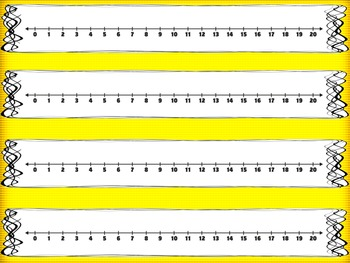 Number Lines (0-20) FREEBIE! Color and Black & White