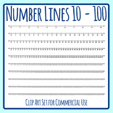 Number Lines - 0 to 10 to 0 to 100 - Clip Art Set for Commercial Use