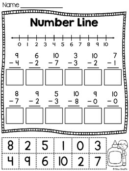 Number Lines Cut and Paste Addition and Subtraction Worksheets