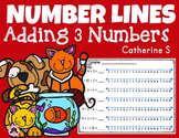 Addition on a Number Lines - Adding 3 Numbers