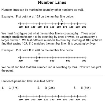 Number Lines, 4th grade - worksheets - Individualized Math