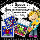 Space Theme: Number Lines Adding and Subtracting Color By Code